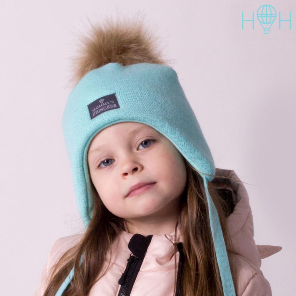 ШЗ20-02621727-4 Шапка зимняя с искусственным помпоном и нашивкой Mommy`s princess, мятный