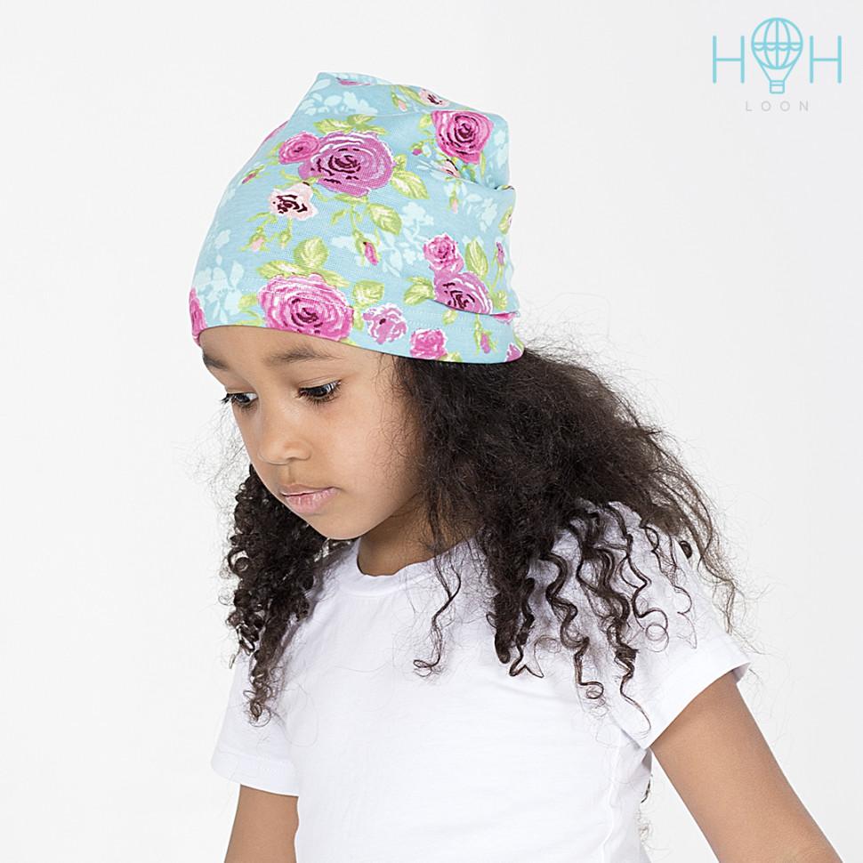 Л18-76цфк Однослойная шапка с принтом, цветы/фуксия