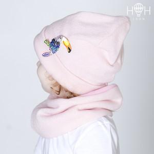 ДВ18-67рзв Демисезонная шапка тукан, розовый