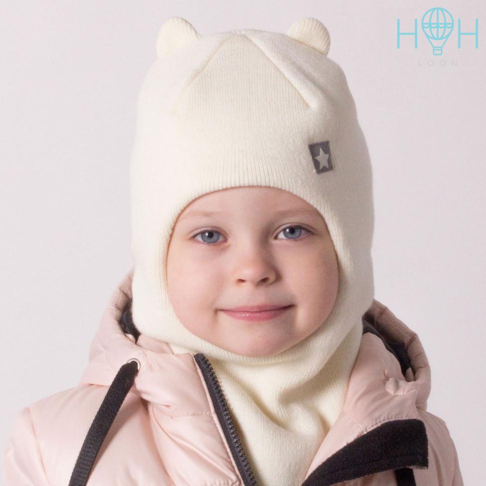 """ШЗ20-61111728 Зимняя шапка-шлем с маленькими ушками и нашивкой """"маленькая звездочка"""", молочный"""