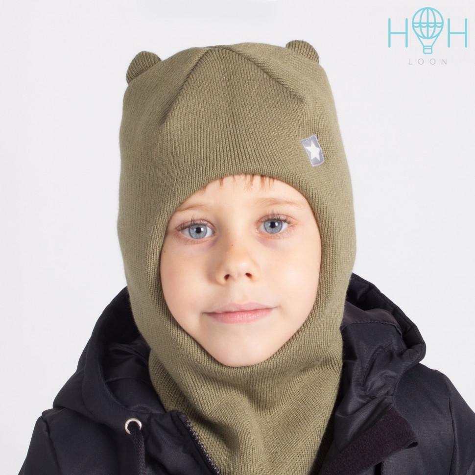 """ШЗ20-61611728 Зимняя шапка-шлем с маленькими ушками и нашивкой """"маленькая звездочка"""", хаки"""