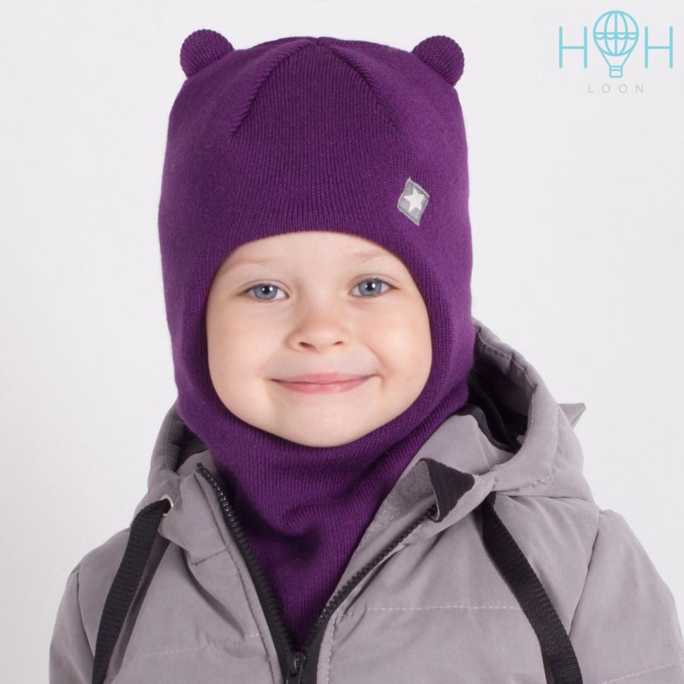 """ШЗ20-61091728 Зимняя шапка-шлем с маленькими ушками и нашивкой """"маленькая звездочка"""", фиолетовый"""
