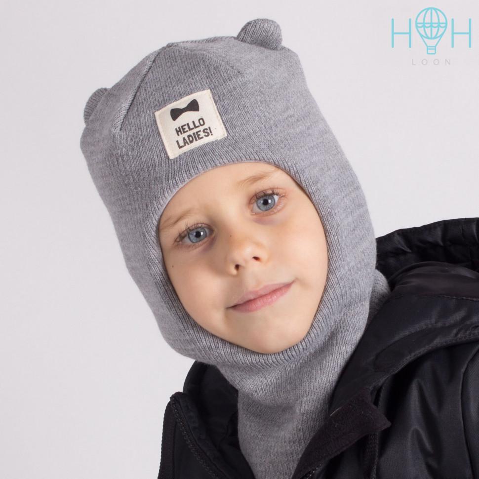 "ШЗ20-61211747 Зимняя шапка-шлем с маленькими ушками и нашивкой ""Hello ladies"", серый"