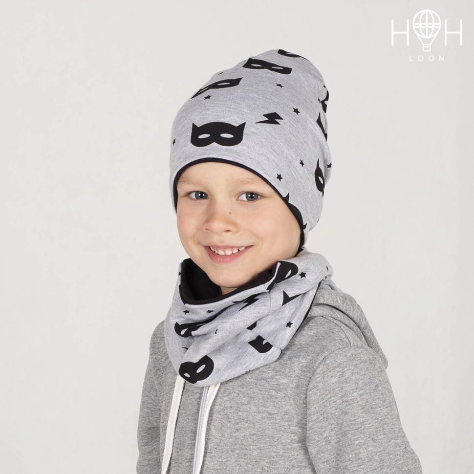 ШВ19-05251290 Двухслойная удлиненная трикотажная шапка с принтом, маска