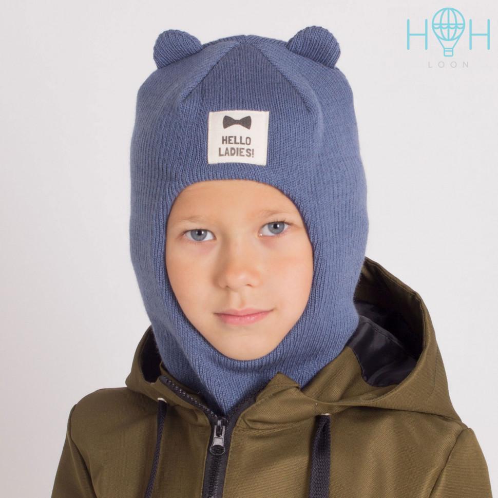 """ШЗ20-61851747 Зимняя шапка-шлем с маленькими ушками и нашивкой """"Hello ladies"""", индиго"""
