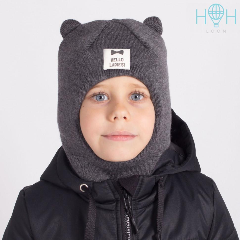 "ШЗ20-61221747 Зимняя шапка-шлем с маленькими ушками и нашивкой ""Hello ladies"", темно-серый"