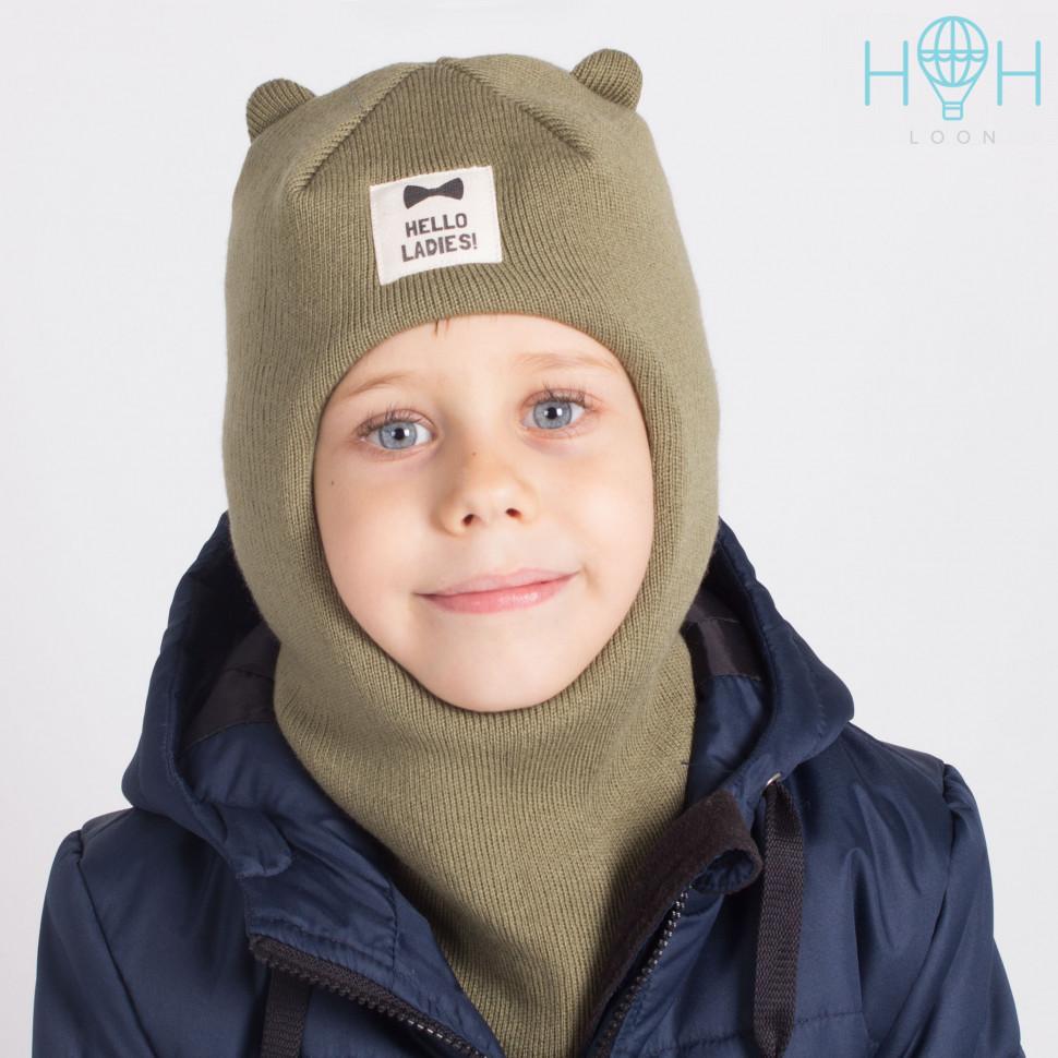 """ШЗ20-61611747 Зимняя шапка-шлем с маленькими ушками и нашивкой """"Hello ladies"""", хаки"""
