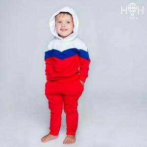 """ОЕ-153ксб Костюм """"На стиле РФ"""", с капюшоном, карманы на брюках, красный"""