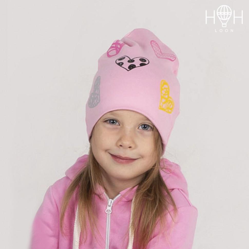ШВ19-04311711 Двухслойная трикотажная шапка с рисунком, сердечки / розовый