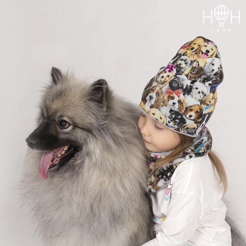 ШД19-12281290 Двухслойная удлиненная трикотажная шапка с принтом щенки