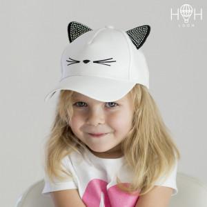 ЛК-102бел Кепка детская кошка, белый