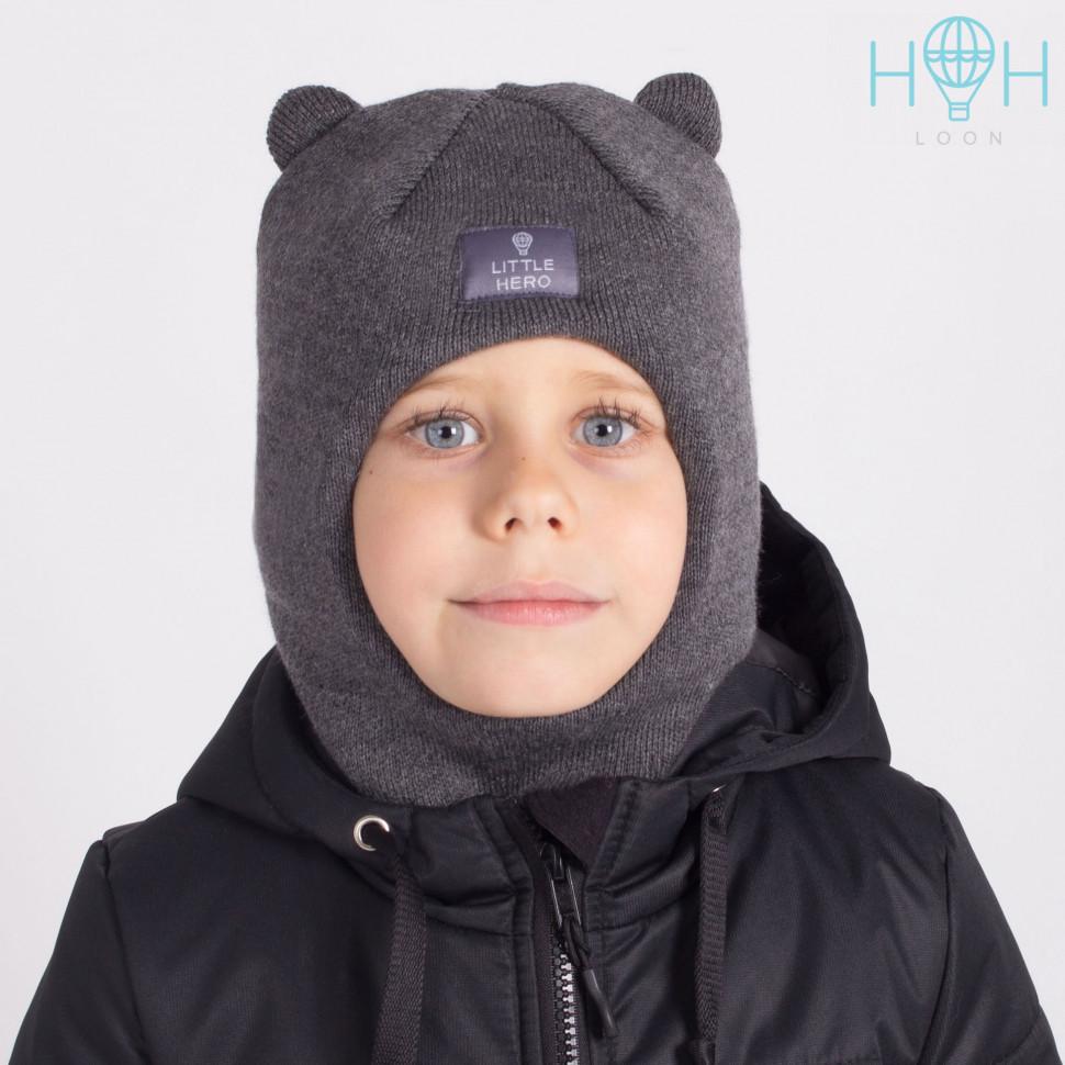 "ШЗ20-61221755 Зимняя шапка-шлем с маленькими ушками и нашивкой ""Little hero"", темно-серый"