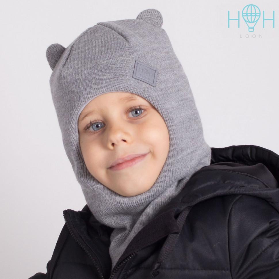 ШЗ20-61211742 Зимняя шапка-шлем с маленькими ушками и светоотражающим шевроном, серый