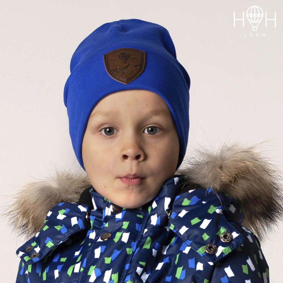 ШВ19-04081813 Двухслойная трикотажная шапка с подворотом Герб, синий