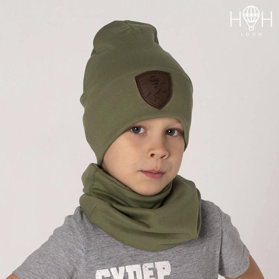 ШВ19-04611813 Двухслойная трикотажная шапка с подворотом Герб, хаки