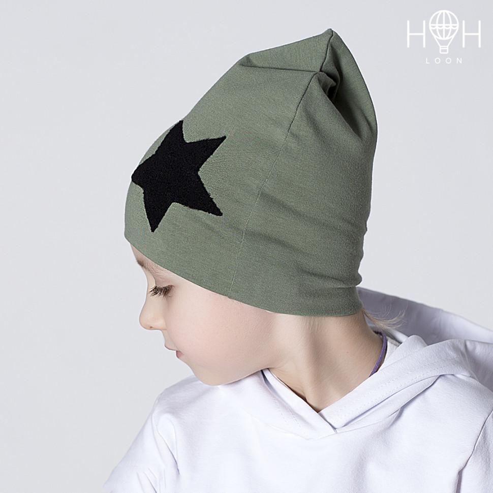 ШВ19-04611715 Двухслойная трикотажная шапка, хаки со звездой, хаки