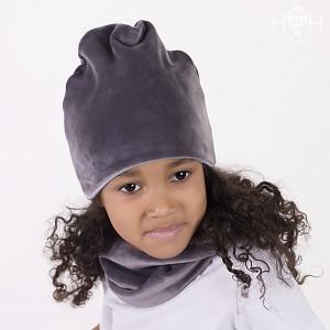 ДВ18-22сер Велюровая шапка, серый