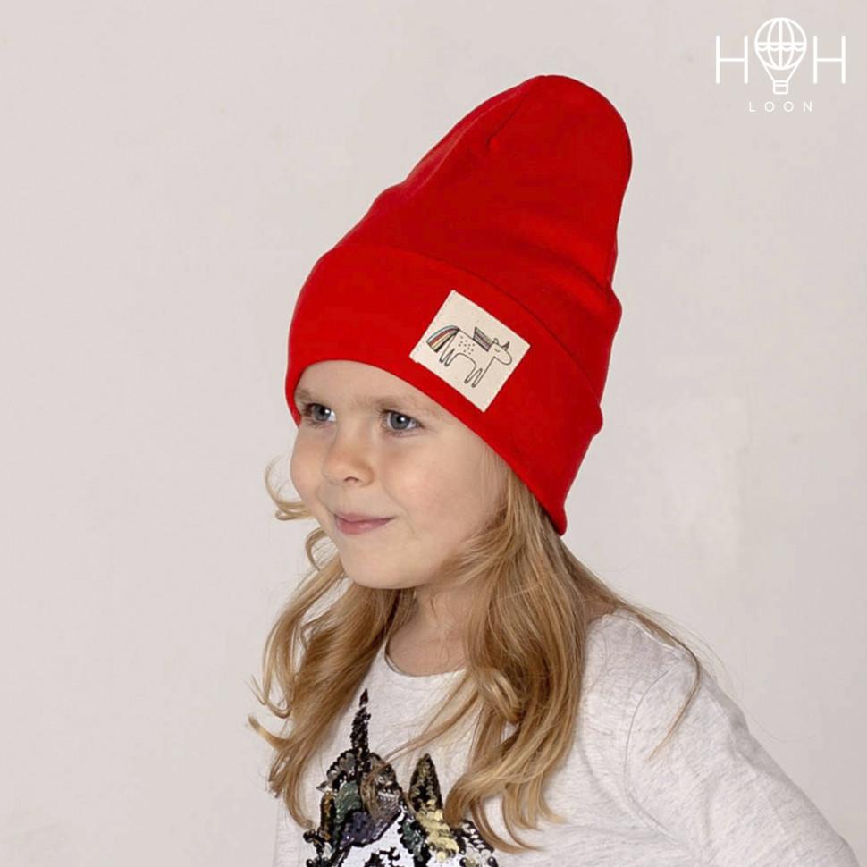 ШВ19-04031816 Двухслойная трикотажная шапка с подворотом единорогом, красны