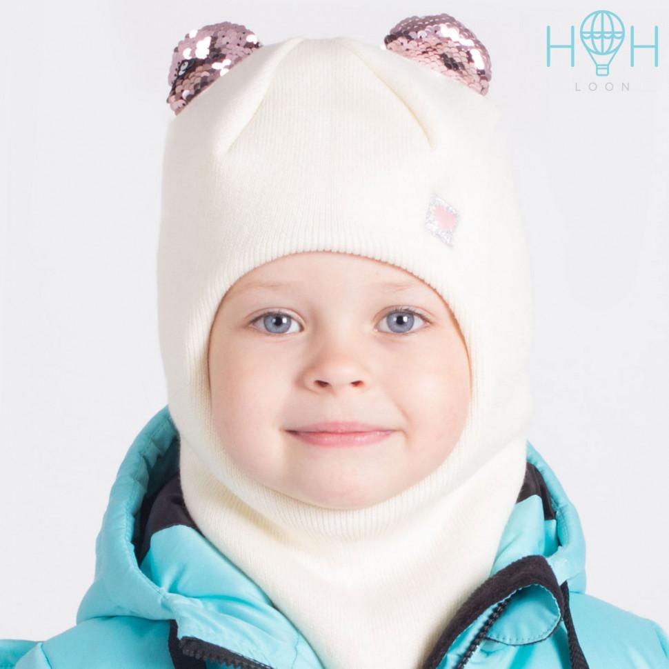 ШЗ20-59111781 Зимняя шапка-шлем с маленькими ушками из пайеток и нашивкой Маленькое сердечко, молочный
