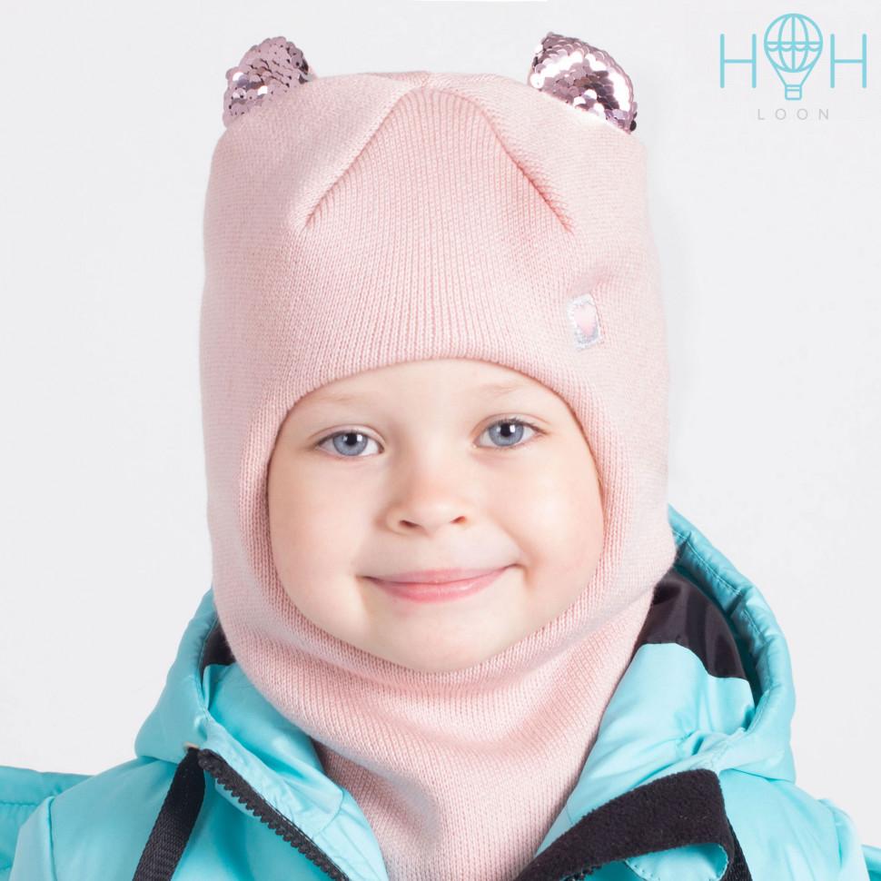 ШЗ20-59361781 Зимняя шапка-шлем с маленькими ушками из пайеток и нашивкой Маленькое сердечко, пудра