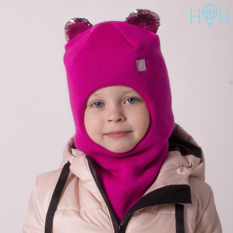 ШЗ20-59391781 Зимняя шапка-шлем с маленькими ушками из пайеток и нашивкой Маленькое сердечко, малиновый