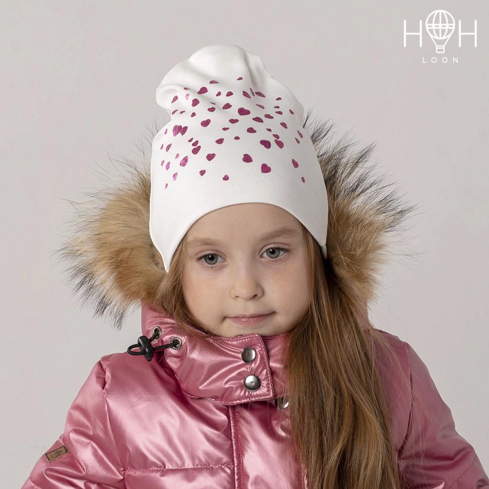 ШВ19-04111722 Двухслойная трикотажная шапка с сердечками глиттер, молочный