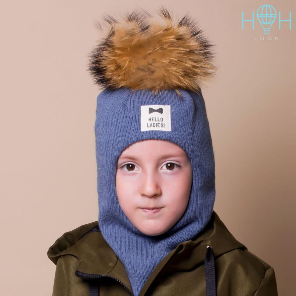 """ШЗ20-06851747-1 Зимняя шапка-шлем с натуральным помпоном из енота и нашивкой """"Hello ladies"""", индиго"""