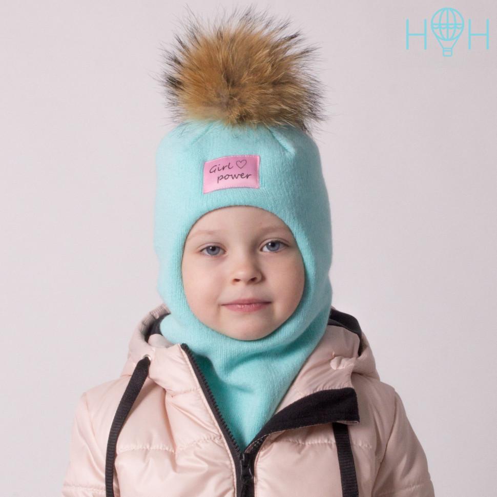 """ШЗ20-06621703-1 Зимняя шапка-шлем с натуральным помпоном из енота и нашивкой """"Girl power"""", мятный"""