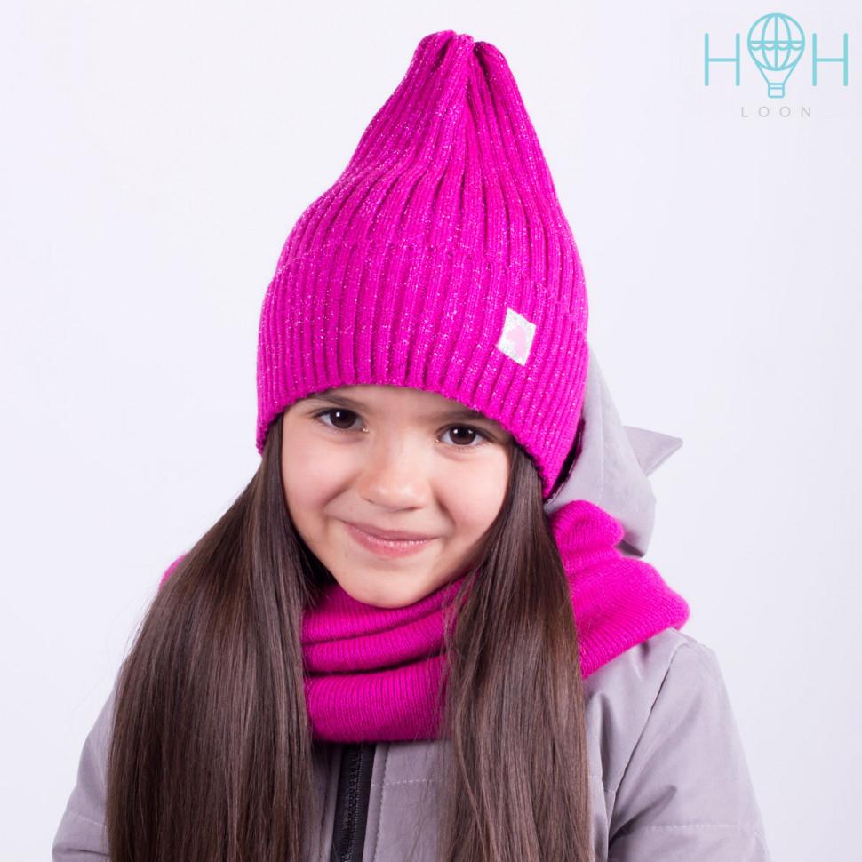 ШЗ20-71391767 Зимняя вязаная шапка с подворотом с нашивкой маленький единорог, малиновый с люрексом