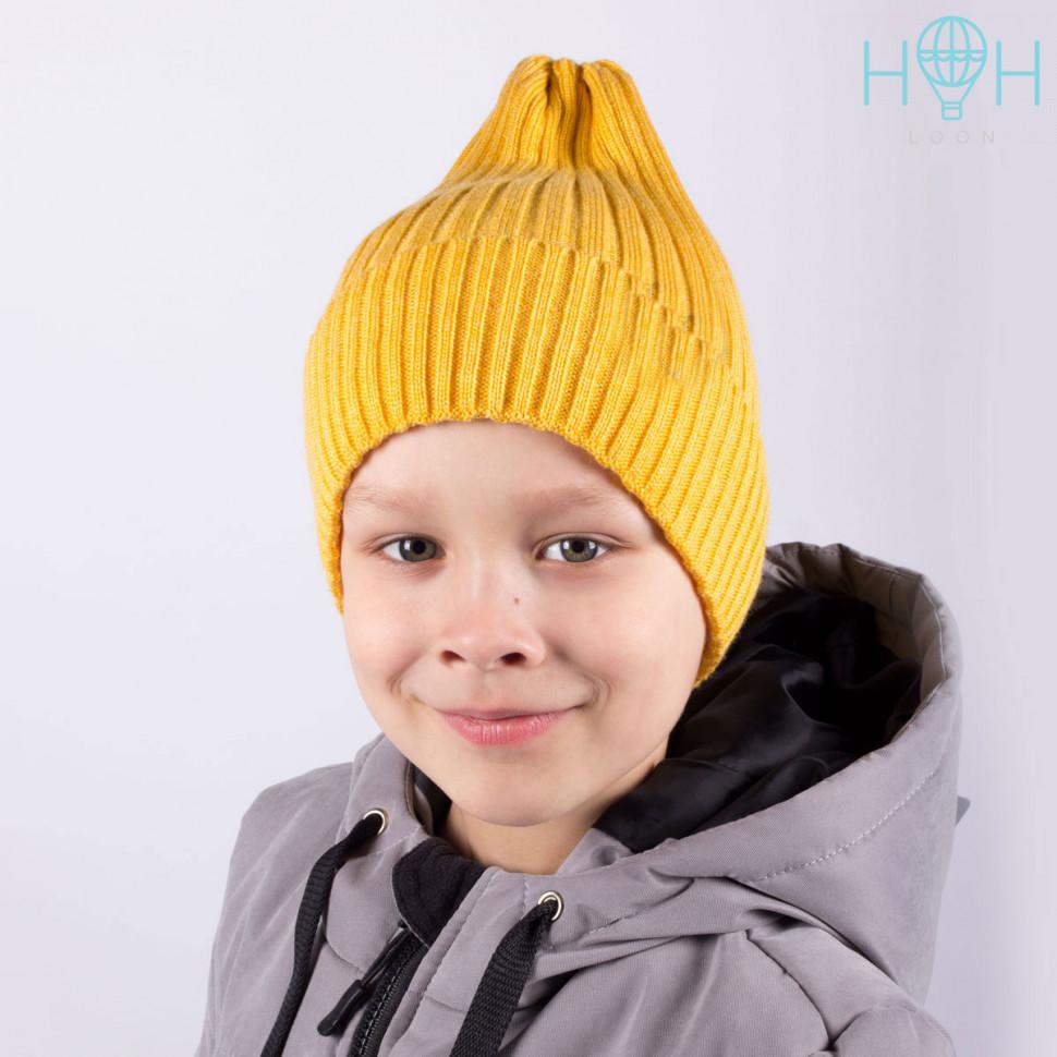 ШЗ20-71511745 Зимняя вязаная шапка с подворотом, горчица