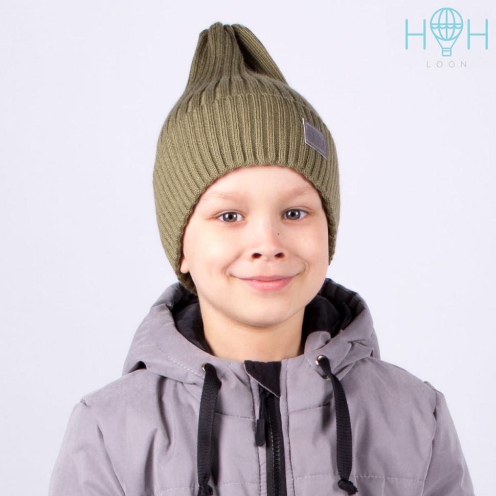 ШЗ20-71611742 Зимняя вязаная шапка с подворотом с шевроном HoH, хаки