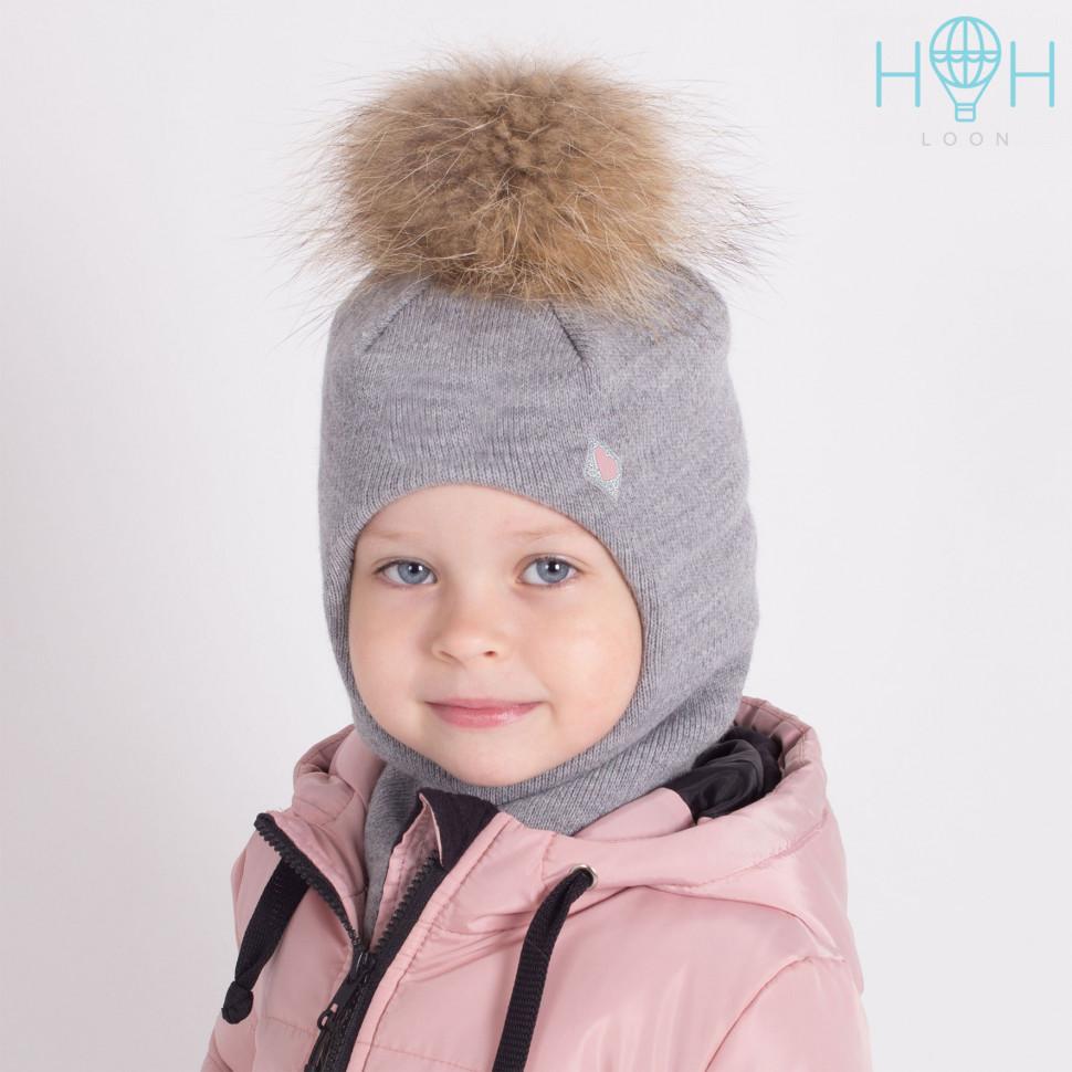 ШЗ20-06211781-1 Зимняя шапка-шлем с натуральным помпоном из енота и нашивкой Маленькое сердечко, серый