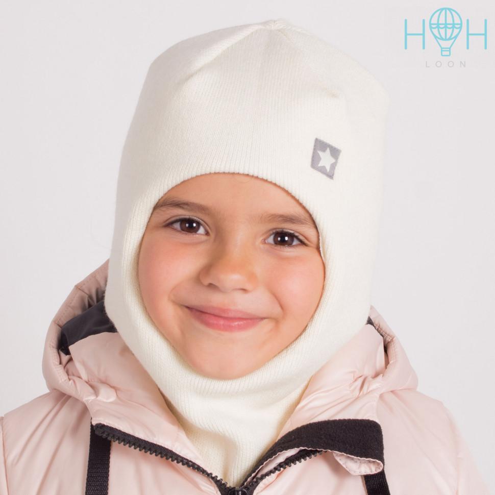 """ШЗ20-06111728 Зимняя шапка-шлем с нашивкой """"Маленькая звездочка"""", молочный"""