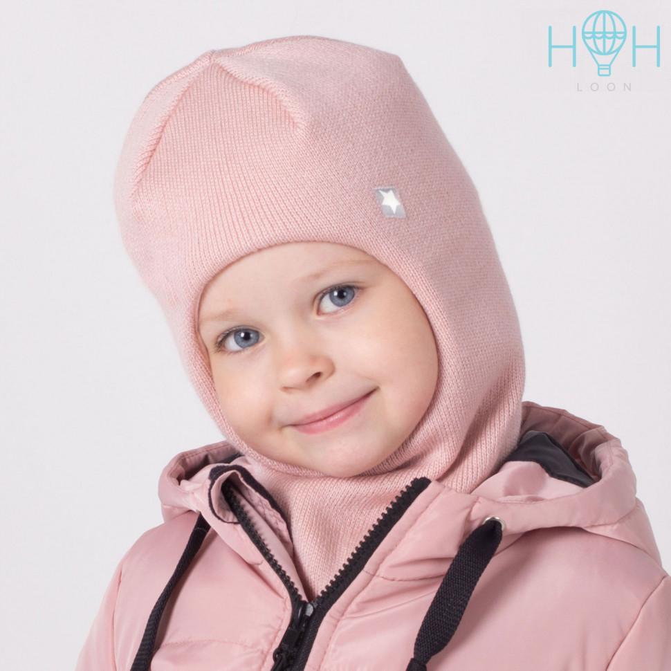 """ШЗ20-06361728 Зимняя шапка-шлем с нашивкой """"Маленькая звездочка"""", пудра"""