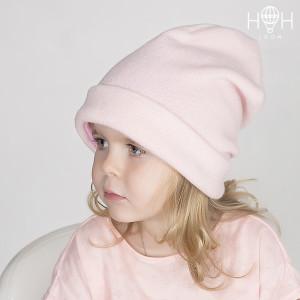 ДВ18-56роз Демисезонная шапка утепленная с подворотом, розовый
