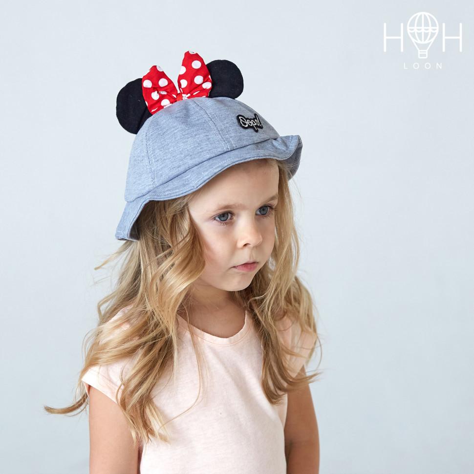 ШЛ19к- Шляпа Мышка с бантиком, серый